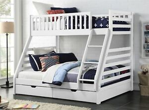 Sweet Dreams States Wooden Triple Sleeper Bunk Bed Frame White Wood