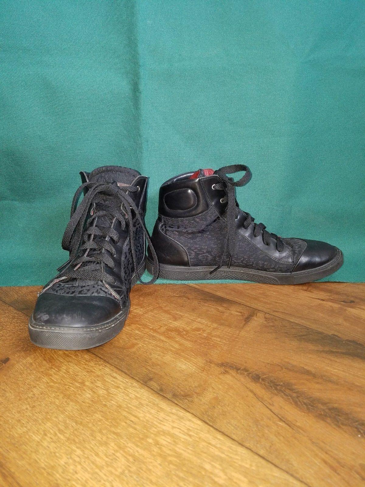 Roberto Cavalli Men's Sz 44 Leather Navy High Top Sneaker I