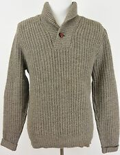 Pendleton Vtg Outdoors Man Brown Wool Polo Knit Sweater USA - Medium M #1456