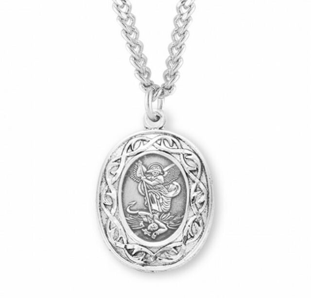 2//3 X 3//4 Inch Size of Nickel Saint Pio of Pietrelcina Oval Solid 14K White Gold