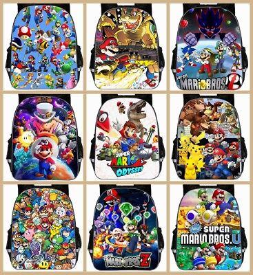 Game Super Mario 3D Print Backpack Bookbag School Laptop Travel Bag Boy Girl G18