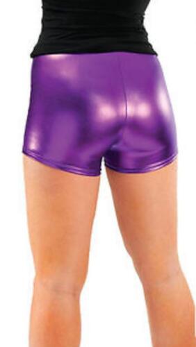 Ladies Metallic PVC Shiny Wet Look Disco Shorts Gym Dance Hot Pant Short UK 8-22