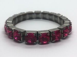 Vintage-Bracelet-7-5-Stretch-Rhinestone-Pink-Red-Silver-Tone