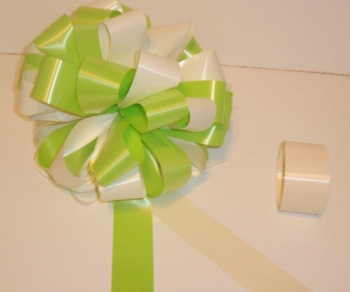 HANDMADE GIANT BOW /& 6m RIBBON WEDDING VALENTINES BIRTHDAY  GIFT IVORY /& LIME