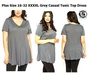 LADIES-PLUS-LARGE-SIZE-16-32-GREY-CASUAL-JERSEY-TUNIC-TOP-BLOUSE-DRESS-OFFICE