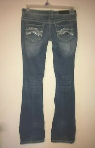 Twenty-One-Black-by-rue21-Womens-Size-1-2-R-Low-Rise-Boot-Cut-Jeans-31-034-Inseam