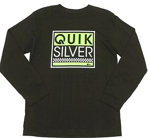 Quiksilver Big Boys XL Long Sleeve Black Gray Tee T-Shirt Ghetto Living Raglan