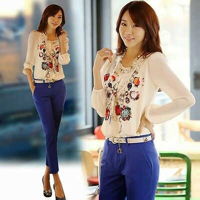 New Women's Printing Chiffon Long Sleeve Slim Cut Tops Blouse Crew Neck Trendy