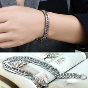 Silver-Men-039-s-Stainless-Steel-Chain-Link-Bracelet-Wristband-Bangle-Jewelry-Punk