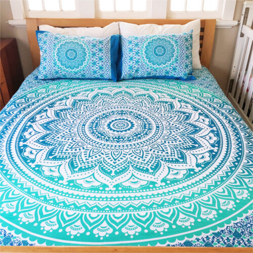 Indian Cotton Ombre Mandala Queen Bed Set Quilt Duvet Cover Blanket Quilt Cover