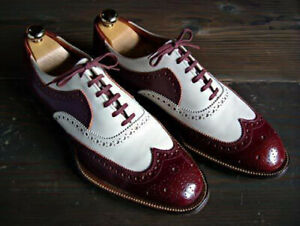 New-Handmade-Men-039-s-Maroon-and-White-Wing-Tip-Brogues-Dress-Formal-Oxford-Shoes