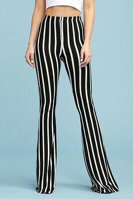 Women/'s Flared Leg Stretchy Pants Bell Bottom Striped Long High Waisted Long