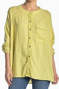 Free-People-Womens-Knit-Top-Yellow-Size-Small-S-Button-Down-Shirt-108-339