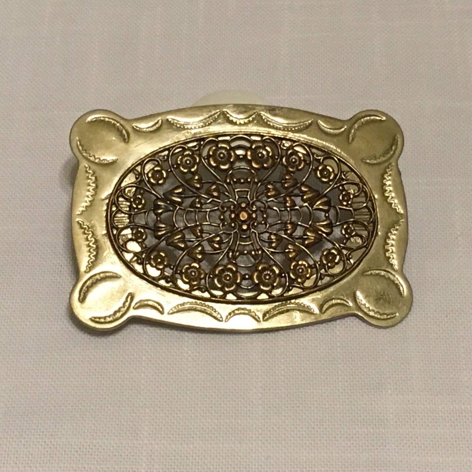 Women's Belt Buckle ~ Intricately Cutout Flower Design ~ Silver & Gold Colors