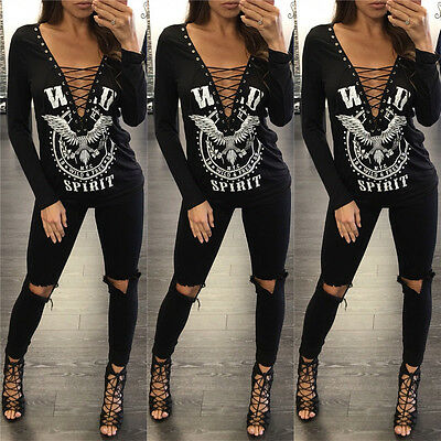 Women New Top Ladies V Neck Black Lace Up Long Sleeve Ruched Pullover T- Shirt