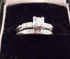 Art Deco Round .21Cts Diamond SI1 H/I 3.39g Platinum White Gold Bridal Ring 4.5
