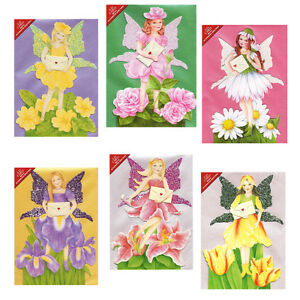 36-Flower-Fairy-Greetings-Cards-Die-cut-with-Glittered-Wings