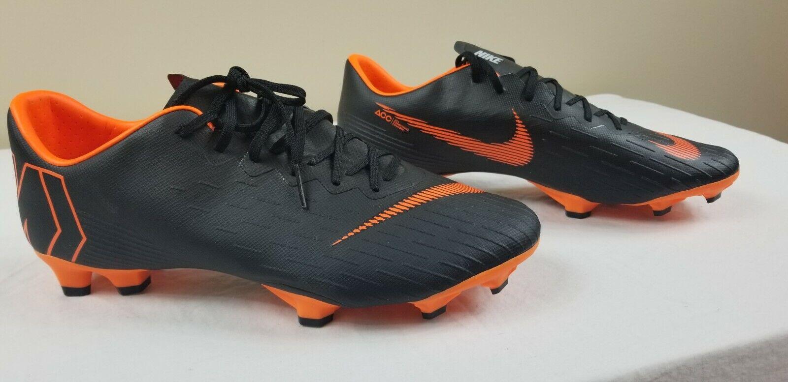 Nike Mercurial Vapor 12 Pro Fg Acc Botines De Fútbol Negro Naranja AH7382-081 Talla 11