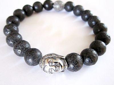 Lava Armband  Buddha Edelstahl Beads Unisex Bracelet 12 mm Buddhismus Handmade