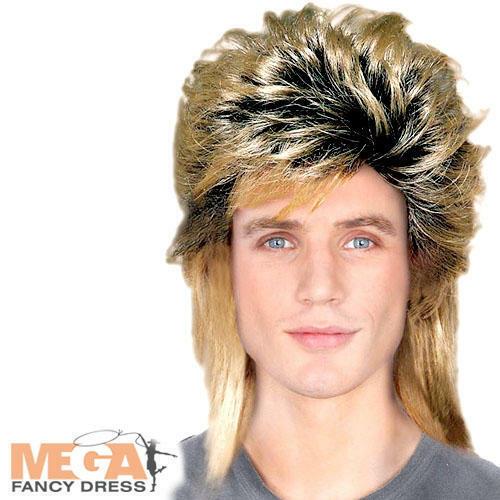 80s BIONDA Triglia Da Uomo Costume Pat SHARP ROCK CELEBRITY Adulti Costume Parrucca