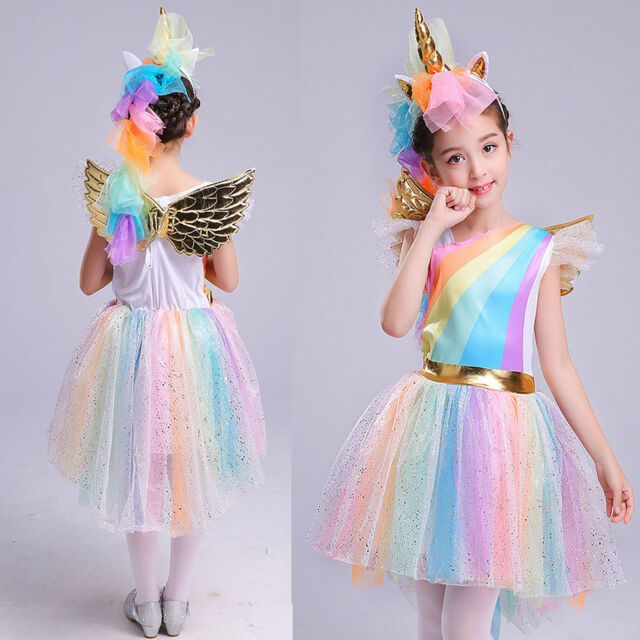 Newest Kid Girls Unicorn Costume Fancy Dress Cosplay Party Book Week Suit Gift