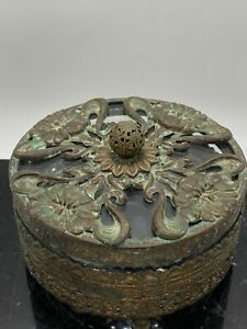 Antique-Vtg-Art-Nouveau-Brass-Filigree-Gold-Ormolu-Flower-Glass-Powder-Box-Jar