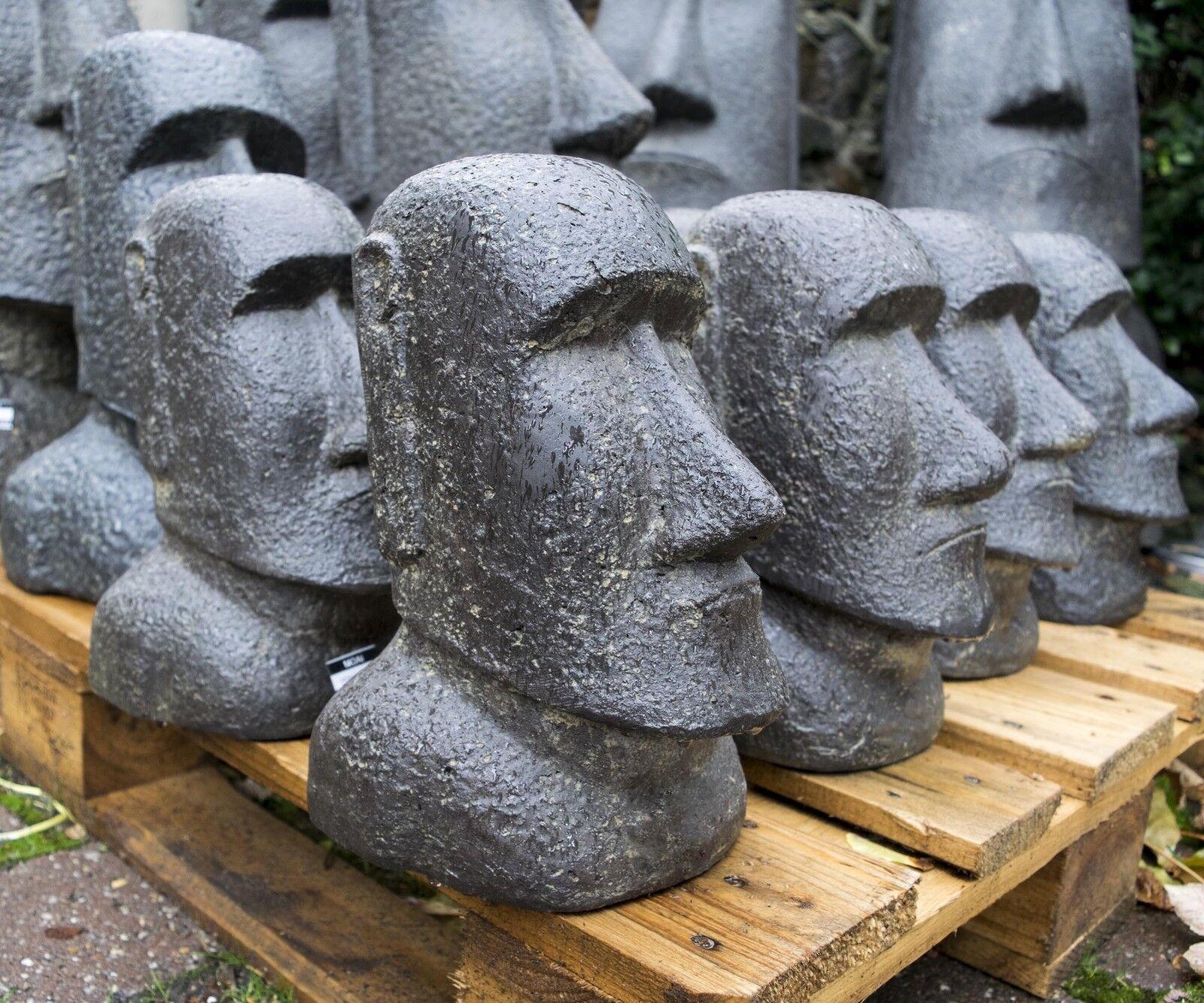 MOAI Kopf 30 cm OSTERINSEL TIKI RAPA NUI STEINGUSS GARTEN ASIEN DEKO TEICH