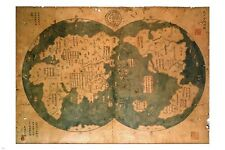 ZHENG HE CHINESE WORD MAP 1418 vintage geographic poster COLLECTORS 24X36