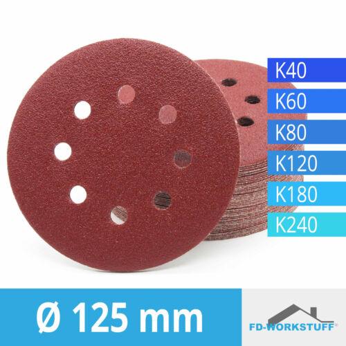 Klett-Schleifscheiben Ø125mm Korn 40//60//80//120//180//240 für Exzenterschleifer
