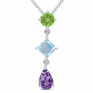 Silver amethyst blue topaz peridot three stone pendant necklace 18 image is loading silver amethyst blue topaz peridot three stone pendant aloadofball Gallery