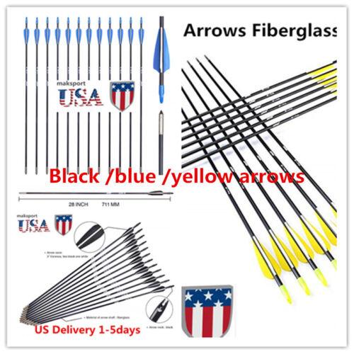 """US12//6pc fibre de verre Flèches Kids 28/"""" Spine 700 Tir à l/'arc flèches pour Arcs à revers"""