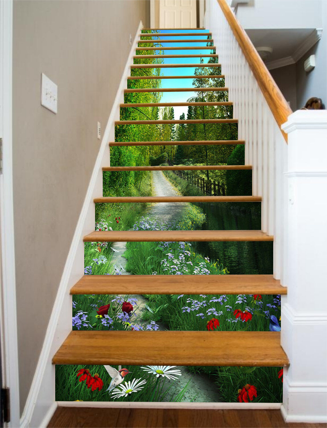 3D Wild Flower Path 863 Risers Decoration Photo Mural Vinyl Decal Wallpaper CA