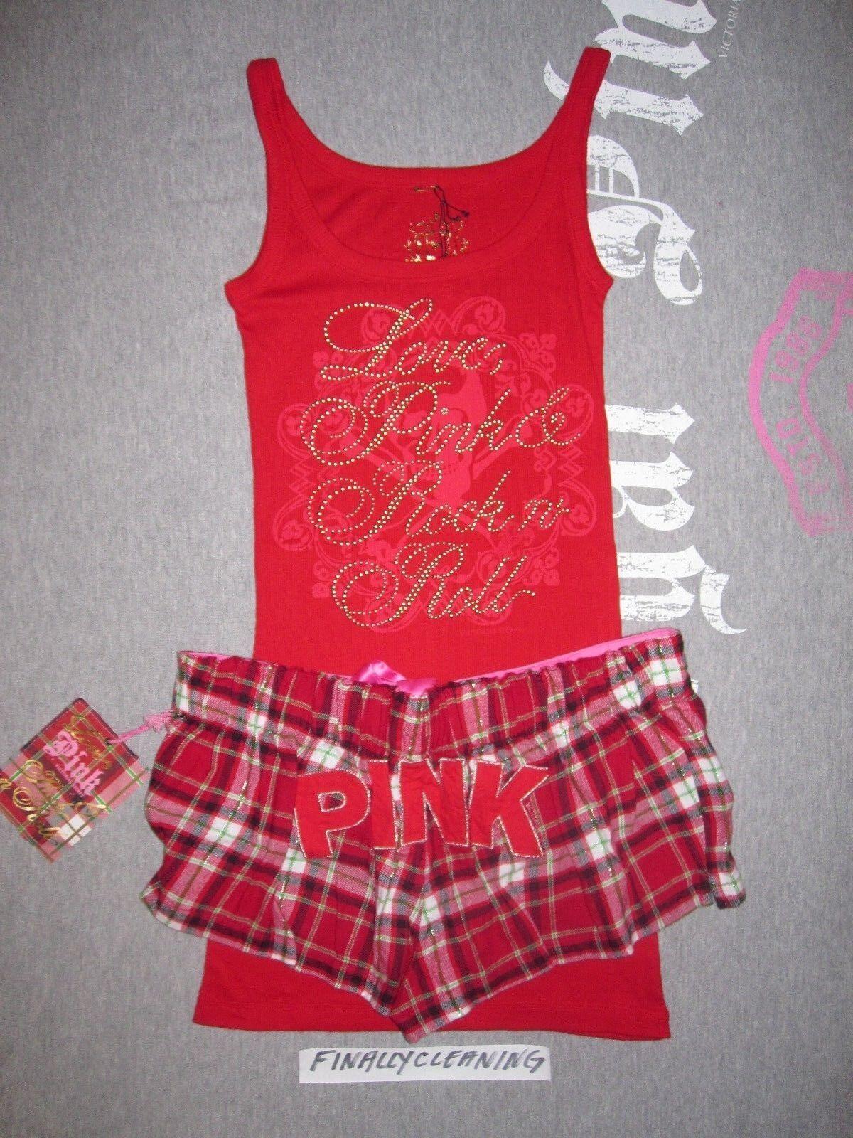NWT Victoria's Secret PINK vintage tank top plaid boxer pajama gift set XS S