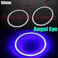 2x Angel Eyes Cob Halo Ring Blue 60mm Led Light Headlight Fog Housing