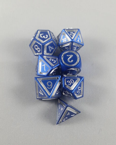 Floating Face Polyhedral 7-Die Set blu - Gaming Dice available