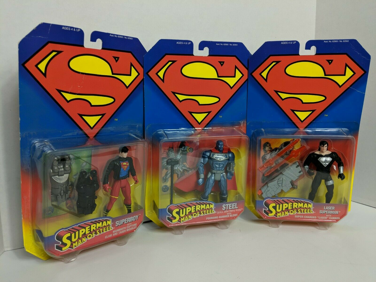Lot 3 Kenner Superman Man Of Steel Action Figures Superboy Steel Laser Superman