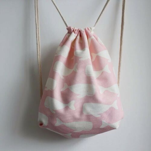 Pink whale Duck backpack shoulder bag with drawstring birthday Christmas gift