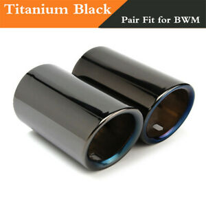 Pair-Car-Tail-Exhaust-Tip-Pipes-Titanium-Black-For-BMW-E90-E92-325-328i-3-Series