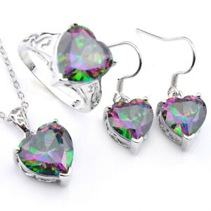 Heart-Mystic-Topaz-Silver-Dangle-Earrings-Pendants-Necklaces-Ring-Jewelry-Sets