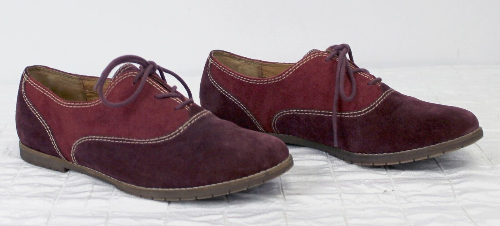 Sofft Alexandra Suede Oxford Shoes Red Burgundy Womens Sz 10 Leather 2-Tone