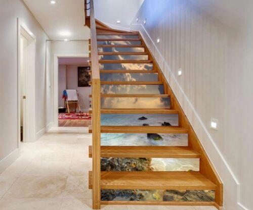 3D Sky sea Stair Risers Decoration Photo Mural Vinyl Decal Wallpaper AU