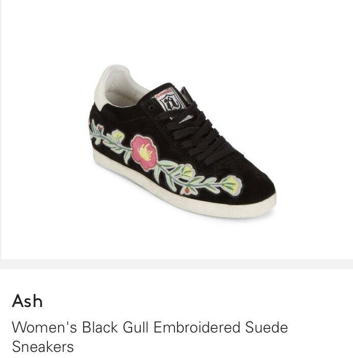 Ash Gull Embroidered Hidden Wedge Lace Up Sneakers Size 38 MSRP E5 29 Bl