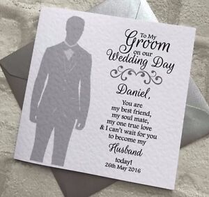 Image Is Loading Personalised To My Groom Wedding Day Card Husband