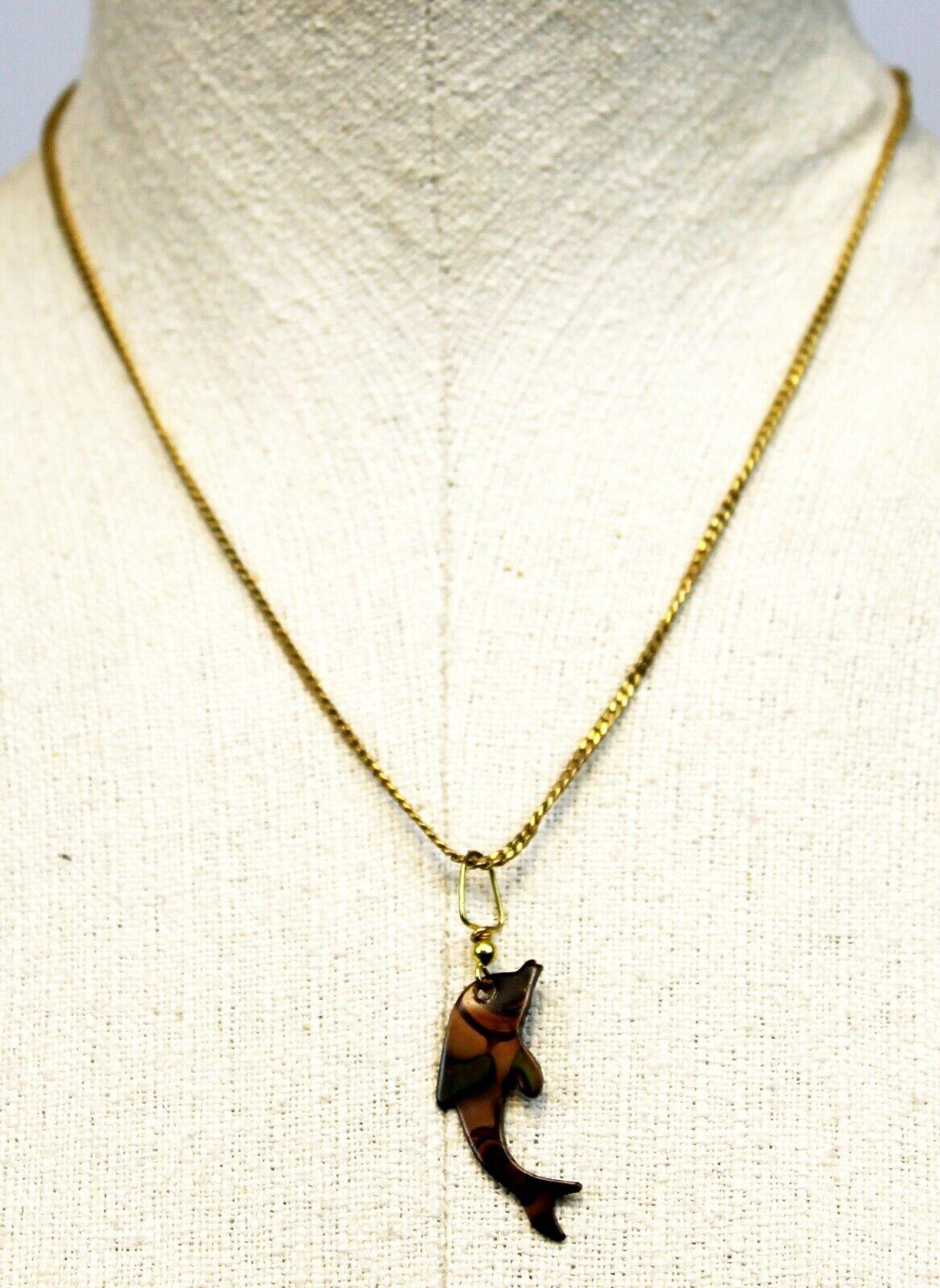 1928 Metal Enameled Dolphin Pendant Serpentine Chain Necklace Ocean Beach 8