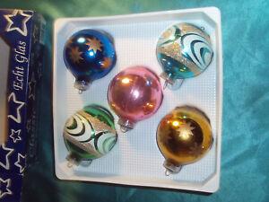 Christbaumkugeln Glas Bunt.Details Zu 5 Alte Christbaumkugeln Glas Bunt Blau Grun Rot Gold Silber Weihnachtskugeln