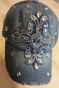 Fleur De Lis Cross with Rhinestone Denim Hat Cap with Adjustable Strap BLING