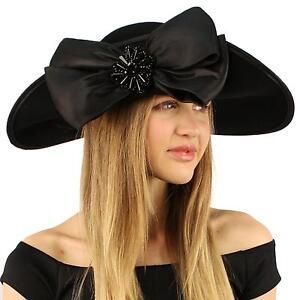 Winter-Edwardian-Flip-Wool-Felt-Big-Bow-Floppy-Wide-Brim-Derby-Church-Hat-Black