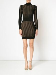 BALMAIN-3795-Authentic-New-Black-Viscose-Stretch-Knit-Stripe-Mini-Dress-sz-38-6