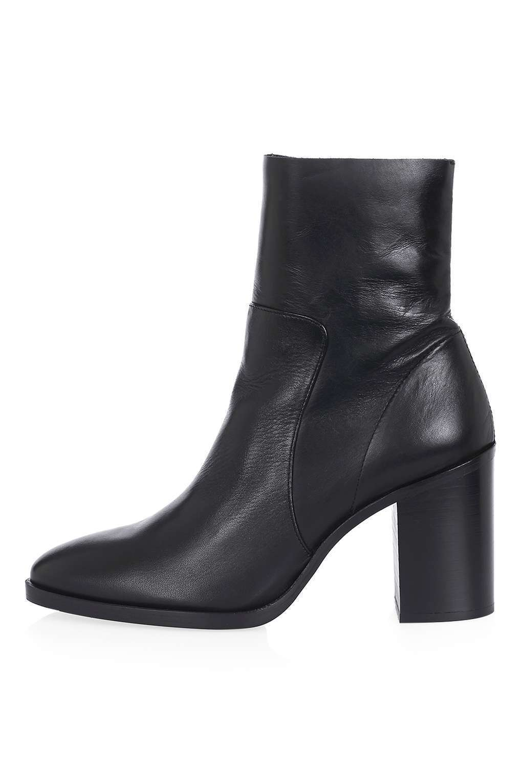 TOPSHOP 'million' black leather 6 ankle sock boots uk 6 leather eu 39 worn once e9e608
