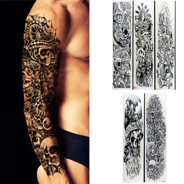 5 Sheets Temporary Tattoo Waterproof Large Arm Body Art Tattoos Sticker Sleeve